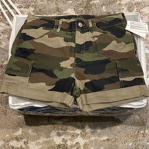 Camo print cargo shorts
